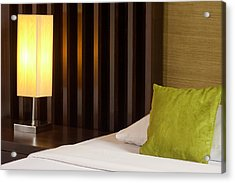 Lamp And Bed Acrylic Print by Atiketta Sangasaeng