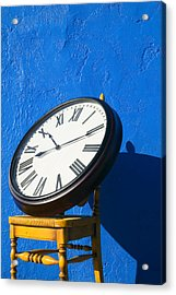 Large Clock On Yellow Chair Acrylic Print by Garry Gay