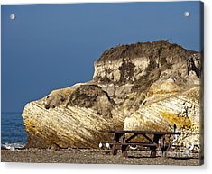 Large Rock And Picnic Area On Beach Acrylic Print by David Buffington