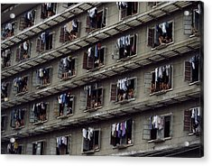 Laundry Drying Outside Apartments Acrylic Print by Paul Chesley