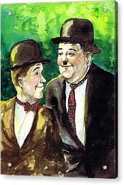 Laurel And Hardy Acrylic Print by Mel Thompson