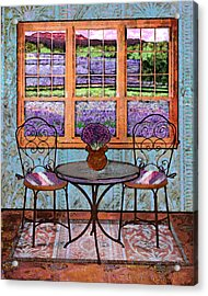 Lavender Bistro Acrylic Print by Mary Ogle