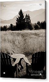 Lawn Chair View Of Field Acrylic Print by Darcy Michaelchuk