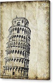 Leaning Tower Of Pisa On Old Paper Acrylic Print by Setsiri Silapasuwanchai