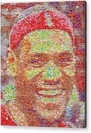 Lebron James Pez Candy Mosaic Acrylic Print by Paul Van Scott