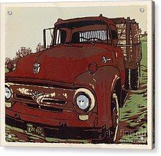 Leeser's Truck - Linocut Print Acrylic Print by Annie Laurie