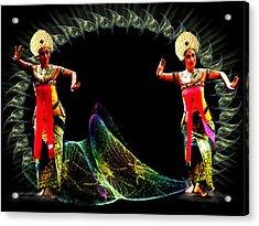 Legong Dancing Girls - Balinese Dances Acrylic Print by Yvon van der Wijk
