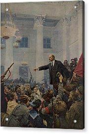 Lenin 1870-1924 Declaring Power Acrylic Print by Everett