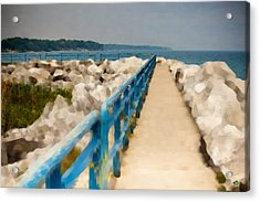 Lexington Harbor Boardwalk Acrylic Print by Paul Bartoszek