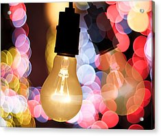 Light Bulb And Bokeh Acrylic Print by Setsiri Silapasuwanchai