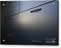 Light Shining On Metal Drawers Acrylic Print by Jetta Productions, Inc