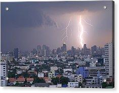 Lightening Strikes Bangkok Acrylic Print by Gregory Smith