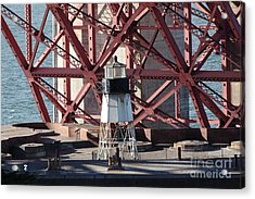 Lighthouse Atop Fort Point Next To The San Francisco Golden Gate Bridge - 5d19001 Acrylic Print by Wingsdomain Art and Photography