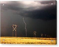 Lightning Striking Behind Saskatchewan Power Line Acrylic Print by Mark Duffy