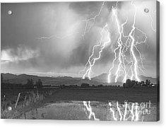 Lightning Striking Longs Peak Foothills 4bw Acrylic Print by James BO  Insogna