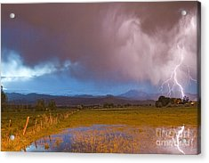 Lightning Striking Longs Peak Foothills 7 Acrylic Print by James BO  Insogna