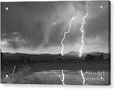 Lightning Striking Longs Peak Foothills Bw Acrylic Print by James BO  Insogna