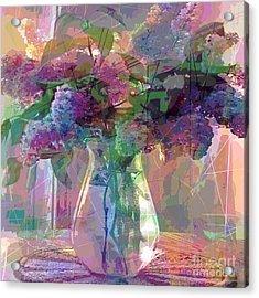 Lilac Cuttings Glass Vase Acrylic Print by David Lloyd Glover