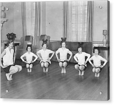 Line Of Girls (7-12) Exercising With Bowls On Heads (b&w) Acrylic Print by Hulton Archive