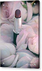 Lipstick And Roses Acrylic Print by Sophie Vigneault