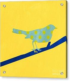 Little Blue Bird Acrylic Print by Linda Woods