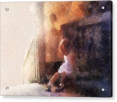 Little Girl Thinking Acrylic Print by Nora Martinez