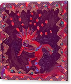 Little Kokopelli With Sash Acrylic Print by Anne-Elizabeth Whiteway