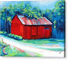 Little Red Barn Acrylic Print by Janet Oh