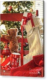 Little Teddy Bear Looking Through Chair Acrylic Print by Sandra Cunningham
