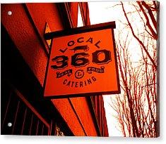 Local 360 In Orange Acrylic Print by Kym Backland