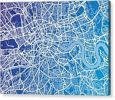 London England Street Map Acrylic Print by Michael Tompsett