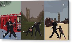London Matrix Triptych Acrylic Print by Jasna Buncic