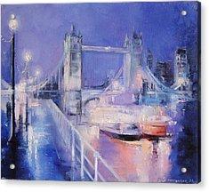 London Night Acrylic Print by Nelya Shenklyarska