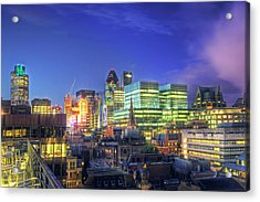 London Skyline At Night Acrylic Print by Gregory Warran