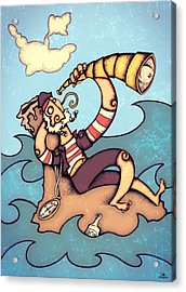 Lonely Pirate Acrylic Print by Autogiro Illustration