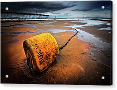 Lonely Yellow Buoy Acrylic Print by Meirion Matthias