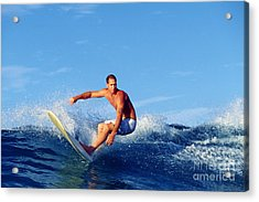 Longboard Surfer Acrylic Print by Paul Topp