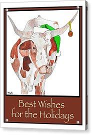 Longhorn Christmas Acrylic Print by Marla Saville