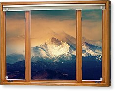 Longs Peak And Mount Meeker Wood Window View Acrylic Print by James BO  Insogna