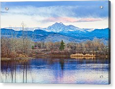 Longs Peak And Mt Meeker Sunrise At Golden Ponds Acrylic Print by James BO  Insogna