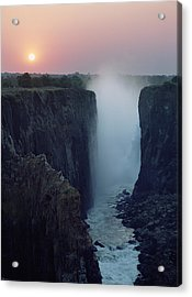 Looking Along Victoria Falls At Dusk Acrylic Print by Axiom Photographic
