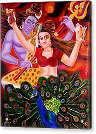 Lord Shiva-parvati Dancing Acrylic Print by Nirendra Sawan