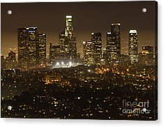 Los Angeles Skyline At Night Acrylic Print by Bob Christopher