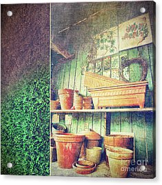 Lots Of Different Size Pots In The Shed Acrylic Print by Sandra Cunningham