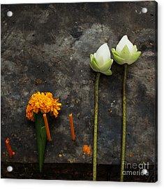 Lotus Flowers On A Thai Shrine Acrylic Print by Paul Grand