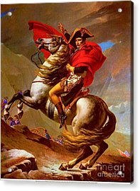 Louis Napoleon At The St Bernard Pass Acrylic Print by Pg Reproductions