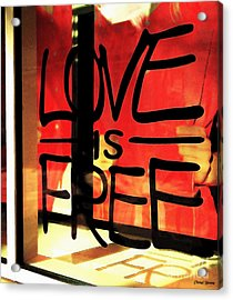 Love Is Free Acrylic Print by Cheryl Young