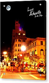 Lovely Asheville Night Downtown Acrylic Print by Ray Mapp