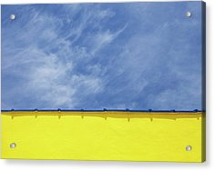 Low Angle Close Up View Of A Wall And Sky Acrylic Print by Sean Russell