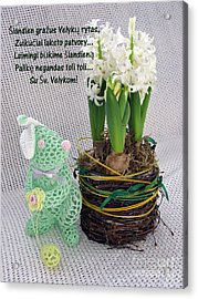 Lt Easter Greeting. Bunny. Lithuanian Text Acrylic Print by Ausra Huntington nee Paulauskaite